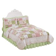 Country quilts country bloom all over floral patchwork style reversible lightweight quilt fullqueen fandeluxe Gallery