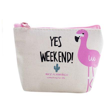 Women Girl Coin Purse Cute Flamingo Zipper Change Bag Phone Bag Pencil Case