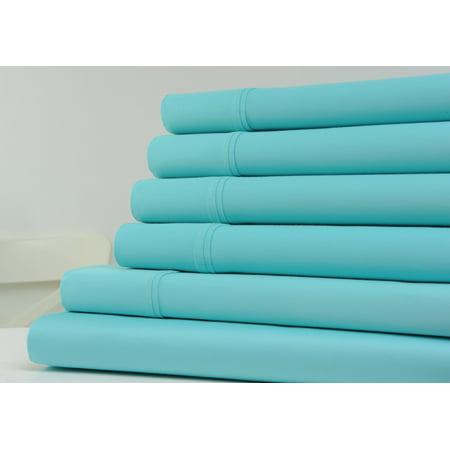 Kathy Ireland Home 1200 Thread Count Cotton Rich Bed Sheets 6 Piece Set - 6 Colors - Queen / (Aqua Cotton Blend)