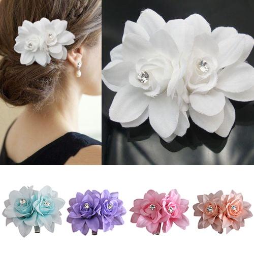 Girl12Queen Women Girl Flower Decor Hair Clip Pin for Bridal Wedding Party Prom Headwear
