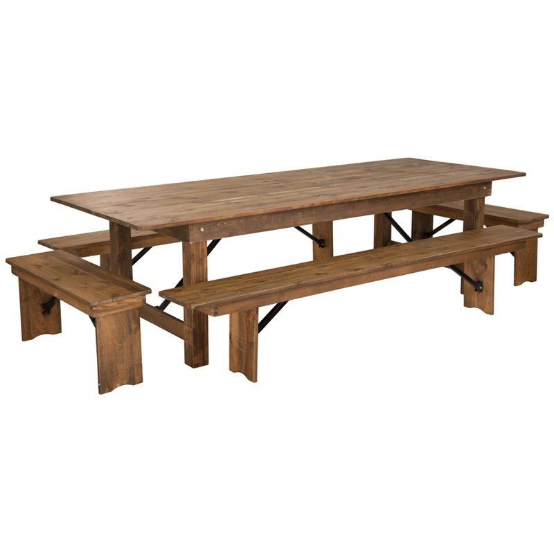 Flash Furniture 5 Piece Farm Dining Set in Antique Rustic