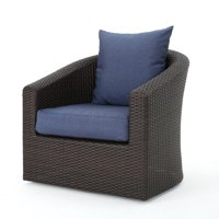 Dillard Outdoor Aluminum Framed Wicker Swivel Club Chair with Water Resistant Cushions, Multibrown and Navy Blue