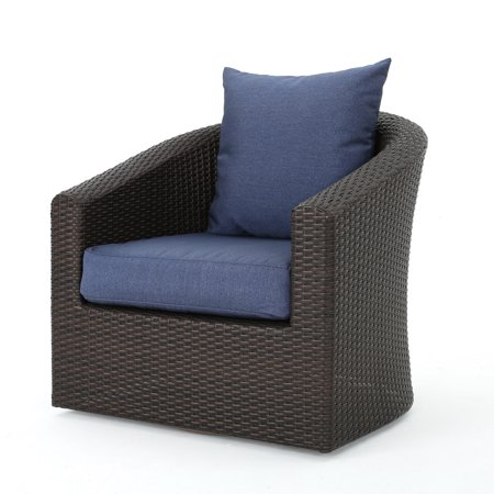 Cool Dillard Outdoor Aluminum Framed Wicker Swivel Club Chair With Water Resistant Cushions Multibrown And Navy Blue Theyellowbook Wood Chair Design Ideas Theyellowbookinfo