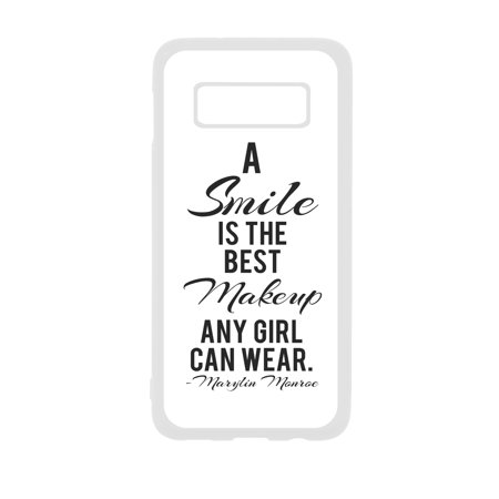 Smile is the Best Makeup Quote White Rubber Case Cover for The Samsung Galaxy s10 Plus / s10+ / s10P - Samsung Galaxy s10 Plus Accessories - Samsung Galaxy s10 Plus