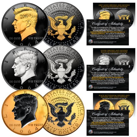 1964 BU Silver JFK Half Dollars 2-Sided BLACK RUTHENIUM - Set of All 3