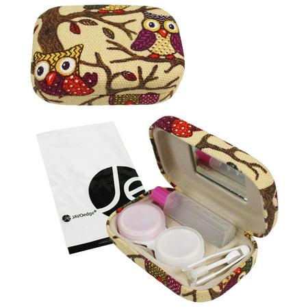 JAVOedge Owl Imprimer Contactez Kit Voyage objectif avec miroir, une bouteille de solution, brucelles et Twist Caps Top