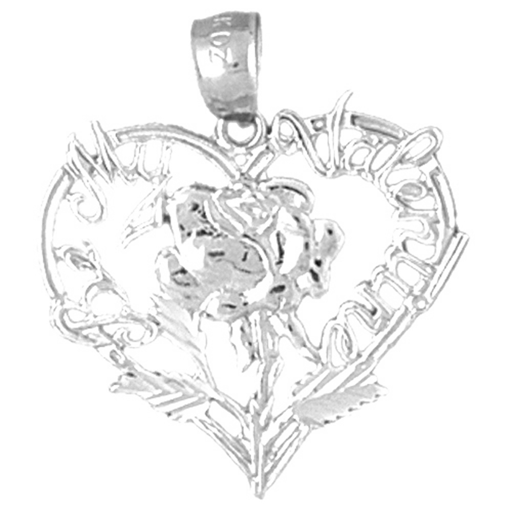 14K White Gold Valentine Heart With Cupid Pendant - 21 mm