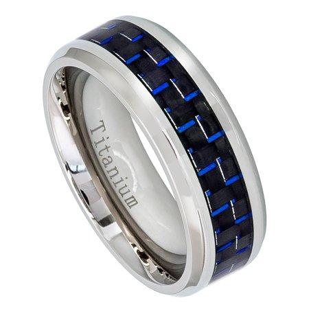 Mens Titanium Wedding Band Carbon Fiber Inlay Comfort Fit Ring
