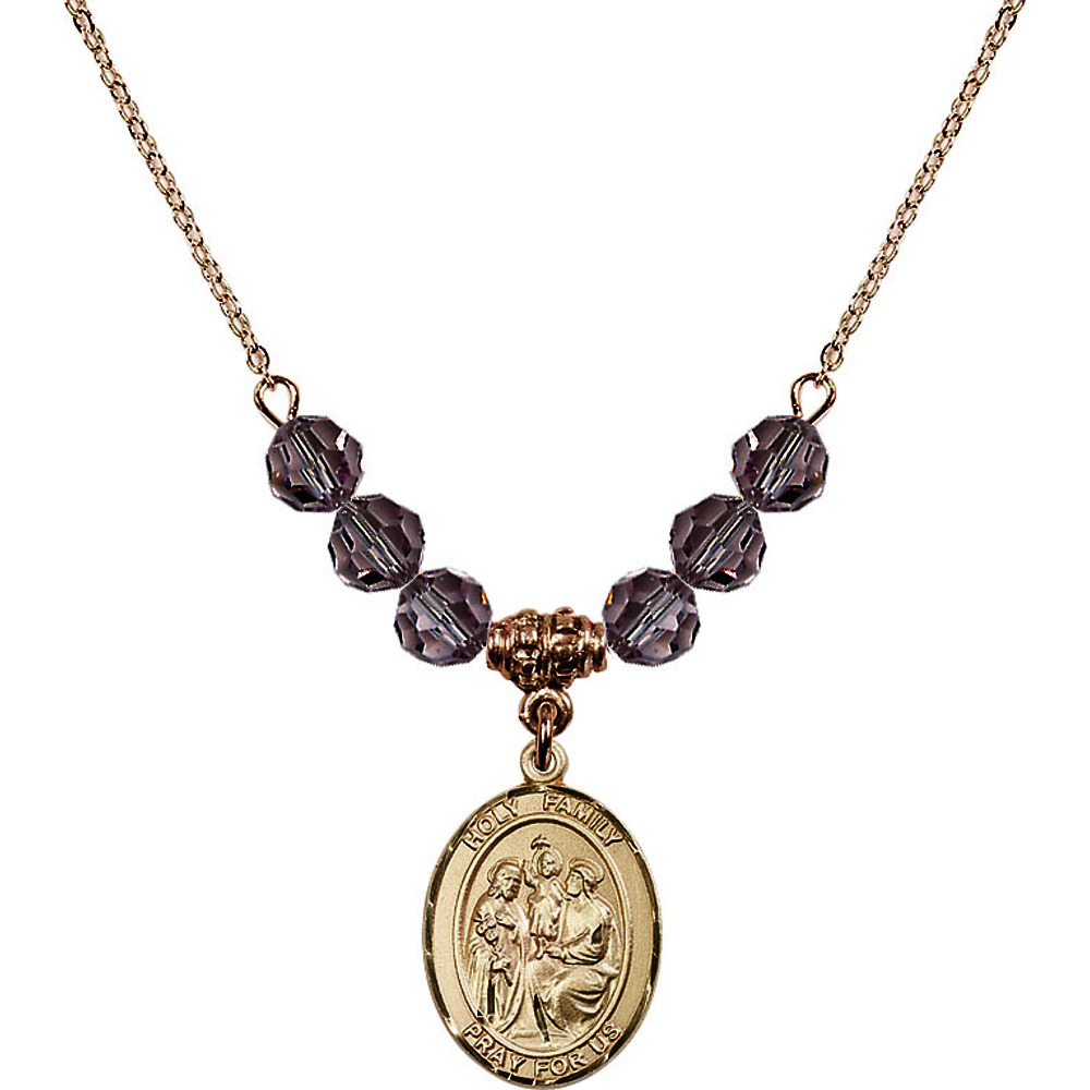 18-Inch Hamilton Gold Plated Necklace with 6mm Light Purple February Birth Month Stone Beads and Holy Family Charm