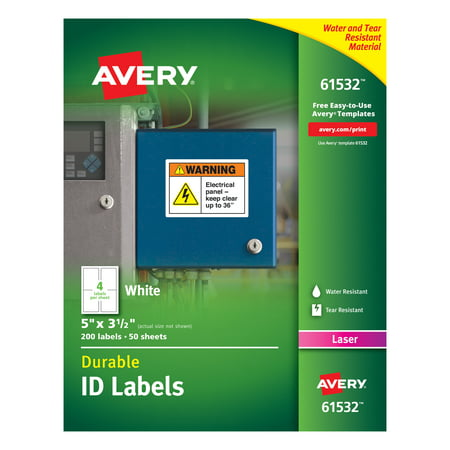 Avery Durable White Cover Up ID Labels for Laser Printers, 5 x 3.5, Pack of 200 (61532) White Id Label