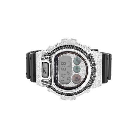 2a59b925bb7 Mens DW6900 G Shock Silicon Band Iced Out Lab Created Cubic Zirconia 2 Tone  Watch
