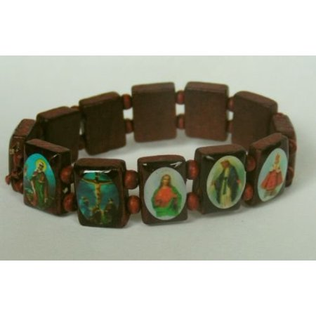 1 X Wood Rosary Bracelet With Colorful Religious Icons Beads Shiny Mahogany