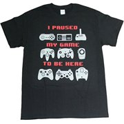 I Paused My Game To Be Here Video Game Adult Mens Unisex Funny T-Shirt Black (X-Large)