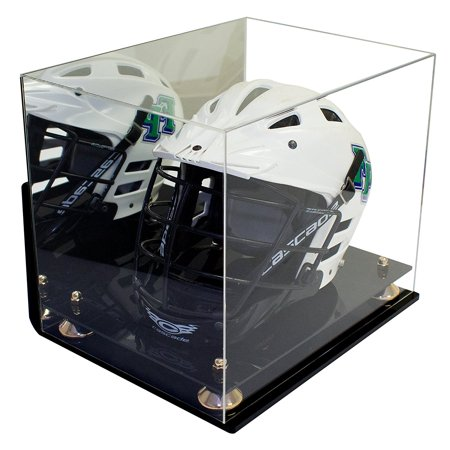 Deluxe Acrylic Lacrosse Helmet Display Case with Gold Risers Mirror and Wall Mount (A002-GR) ()