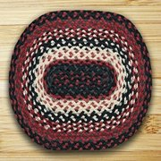 "Earth Rugs MS-410 Oval Swatch, 10 x 15"", Black/Ivory/Country Red"