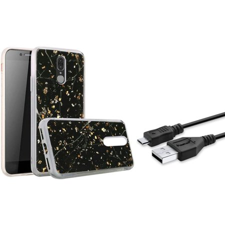 Insten Marble Glitter PC/TPU Rubber Case Cover For Coolpad Legacy (2019) - Black (Bundle with Micro USB