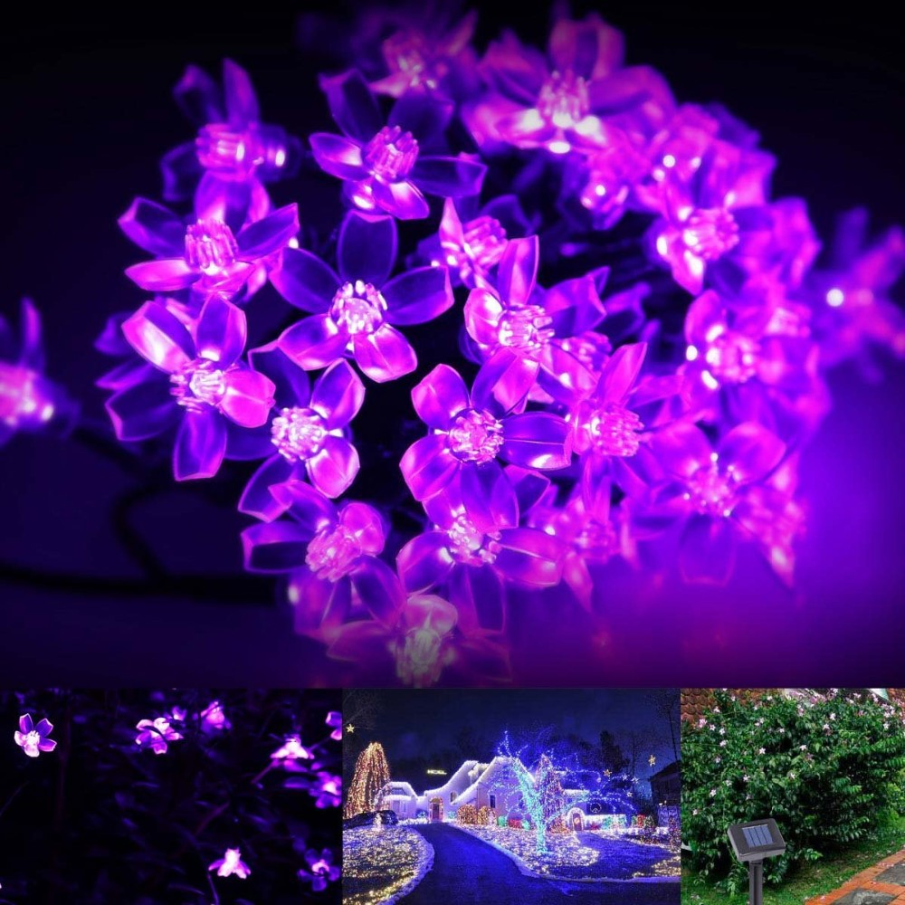 Purple 21ft 50 Led Ecandy Outdoor Water-proof Blossom Solar String Lights
