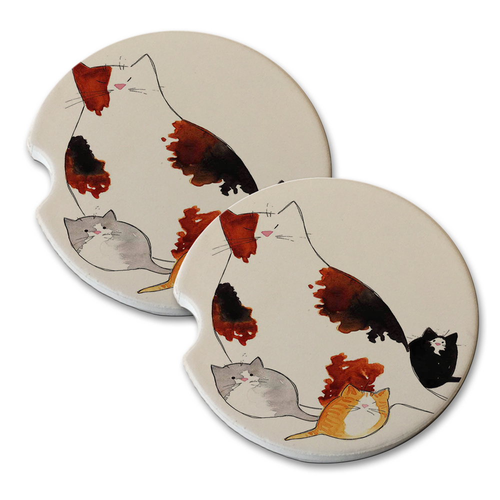 KuzmarK Sandstone Car Drink Coaster (set of 2) Shorthair Kitty Family Mama and Kittens Abstract Cat Art by Denise Every by KuzmarK