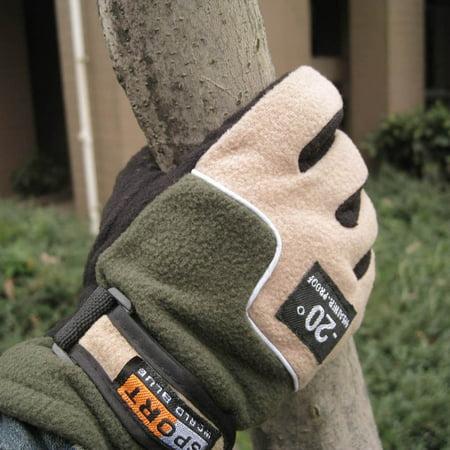 Adjustable Gloves Men Full Finger Fleece Outdoor Windproof Thermal Winter Ski Cycling Skiing Hiking (Slit Finger Fleece)