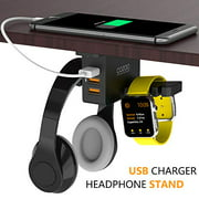 Headphone Stand with USB Charger COZOO Under Desk Headset Holder Mount with 3 Port USB Charging Station and iWatch Stand Smar
