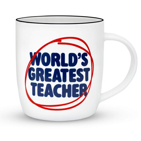 Gifffted World's Greatest Teacher Coffee Mug, Funny Gift for Best Teacher, Graduation Gifts, Ceramic, 13