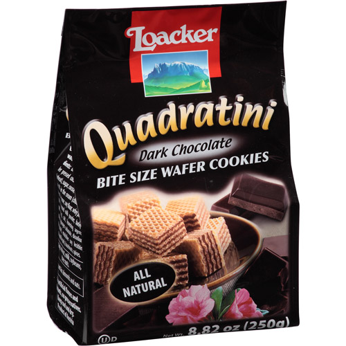 Loacker Quadratini Dark Chocolate Bite Size Wafer Cookies, 8.82 oz, (Pack of, 8)