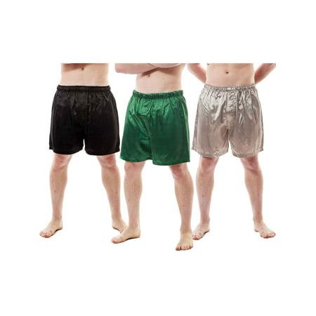 Up2date Fashion's Men's Satin Shorts / Boxers 3-Piece Multi-Color Combo Pack (MSC01-B) Silver Black Boxer