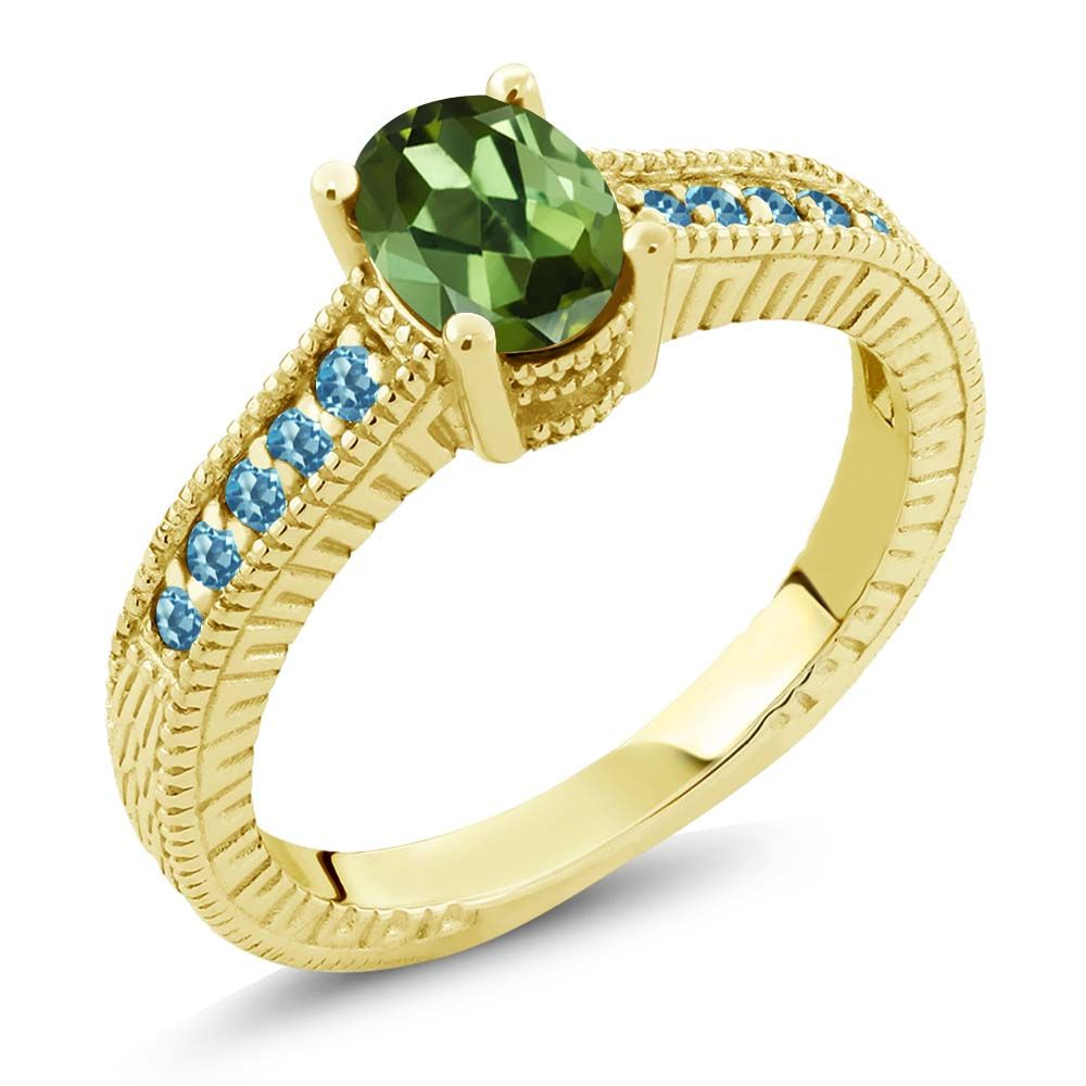 Green Tourmaline and Swiss Blue Simulated Topaz 18K Yellow Gold Engagement Ring by