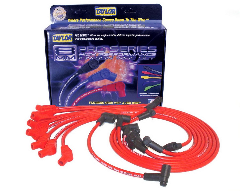 Taylor Spark Plug Wire Set 74290; Spiro Pro 8mm Red for Nissan 6 Cylinder