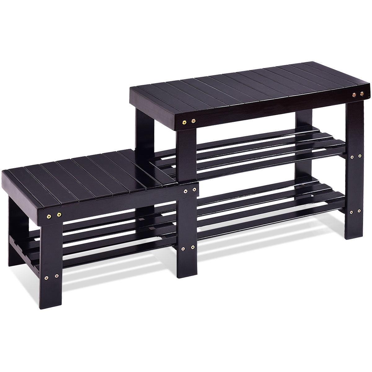 2 -Tier Bamboo Shoe Bench Boot Storage Racks Shelf Organizer Chair Seat Black