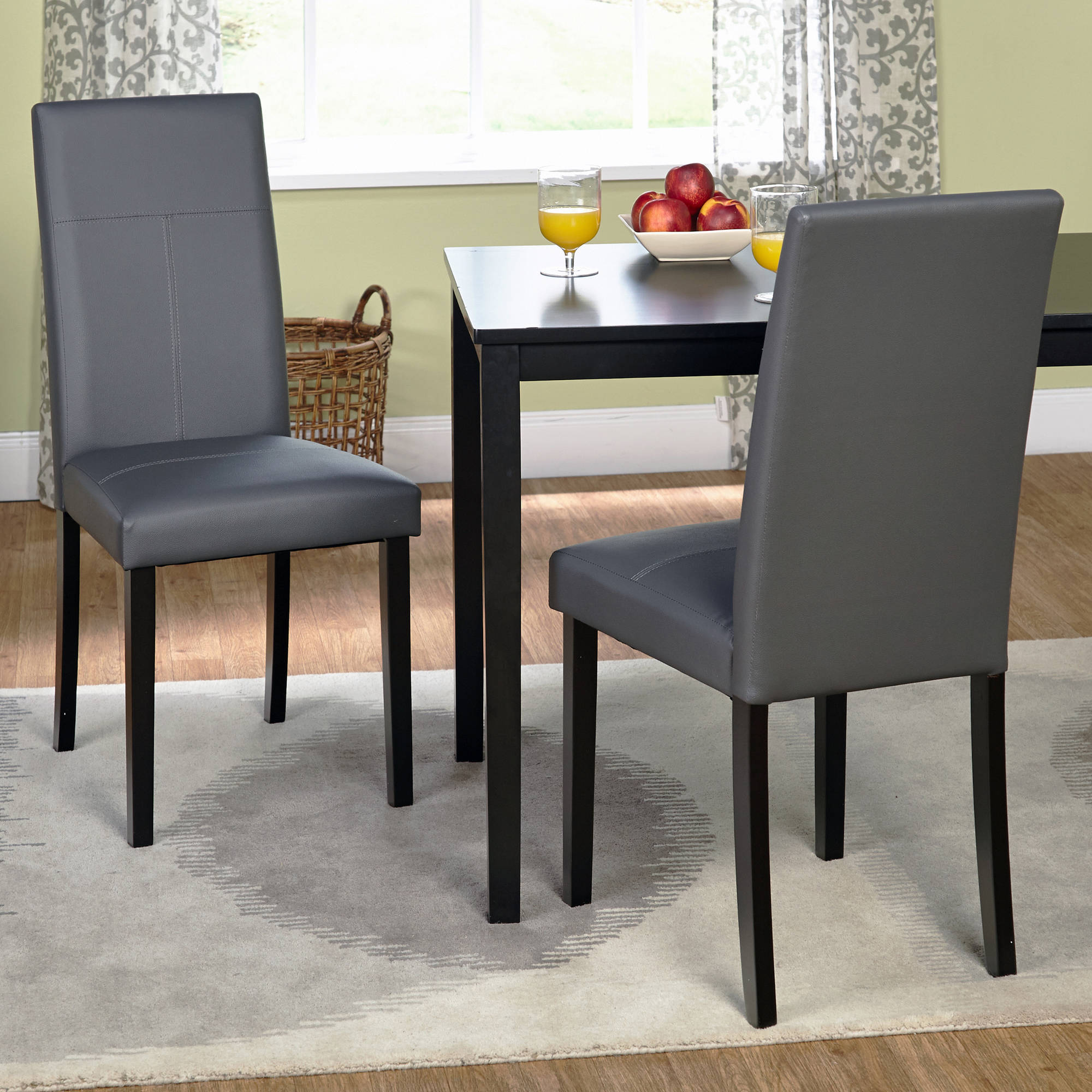 Faux Leather Parsons Dining Chair Set of 2 Gray Walmartcom