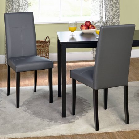 Faux leather parsons dining chair set of 2 gray for Leather parsons chairs dining room