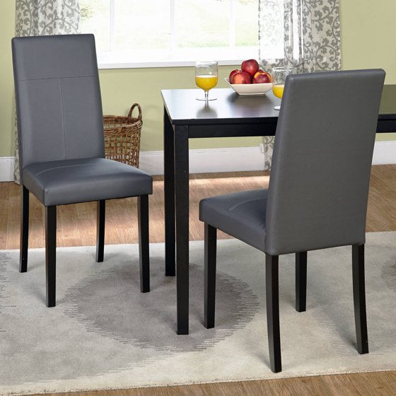 Faux Leather Parsons Dining Chair, Set Of 2, Gray