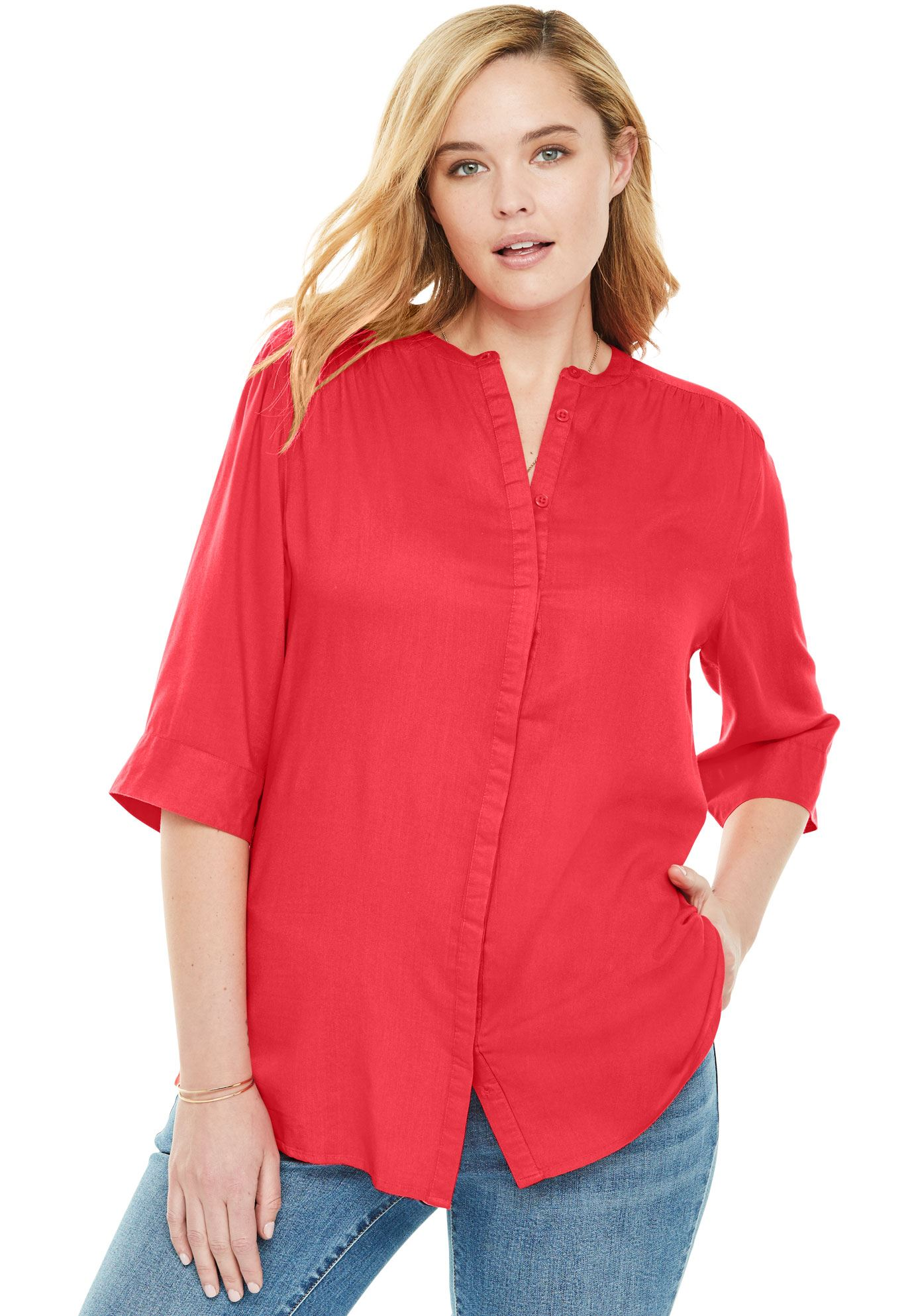 Woman Within Plus Size Mandarin Tunic Button Down Shirt