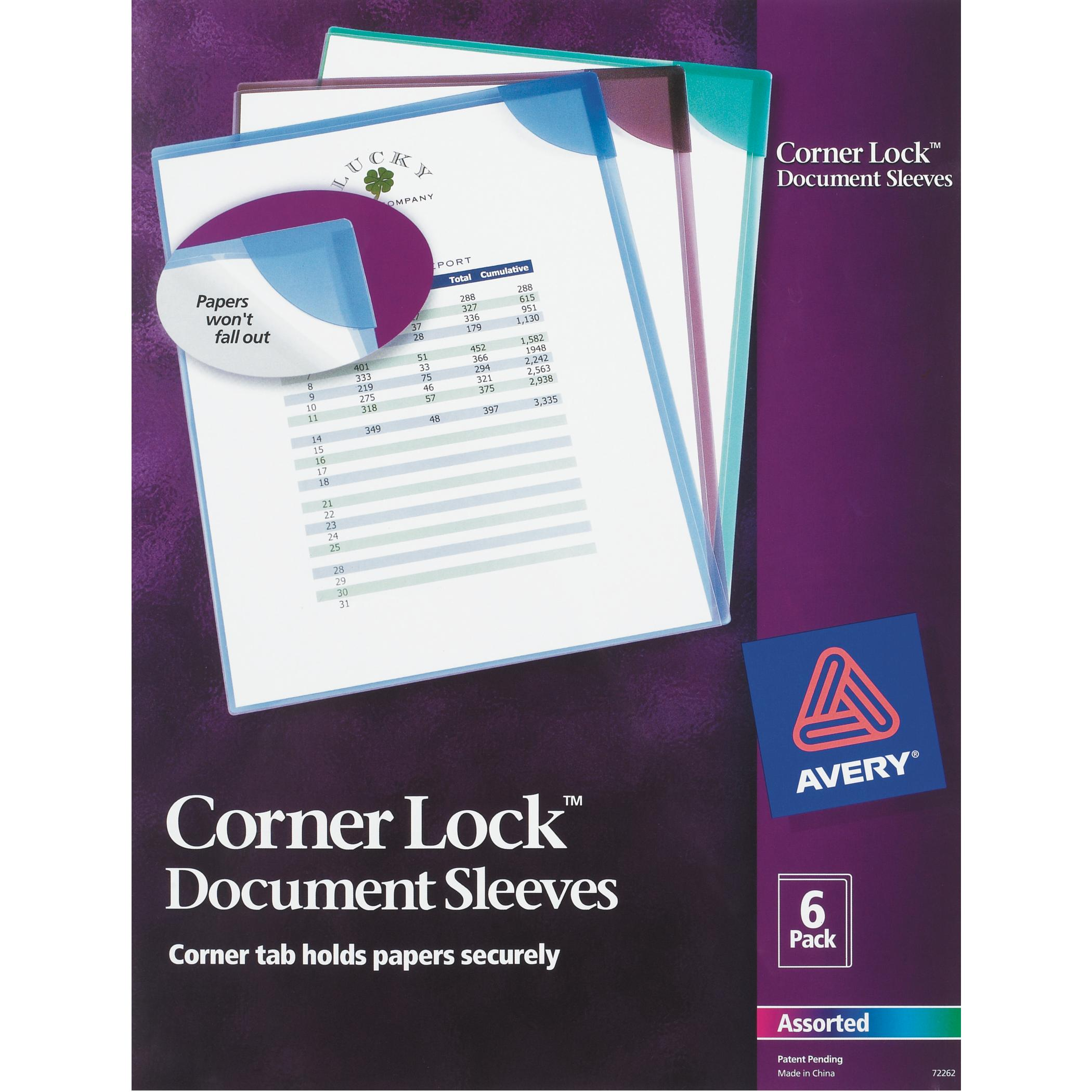 Avery(R) Corner Lock(TM) Document Sleeves 72262, Assorted, Pack of 6