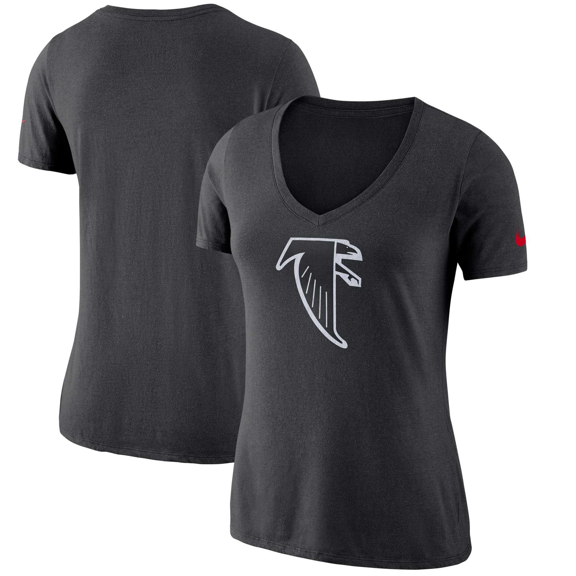Atlanta Falcons Nike Women's Historic Logo 2.0 Tri-Blend Mid V-Neck T-Shirt - Black