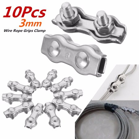 M3 304 STAINLESS STEEL WIRE ROPE DUPLEX WIRE ROPE clamp GRIPS Mount Clamp 10pcs