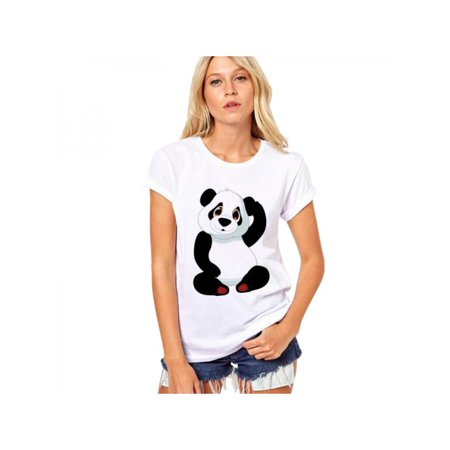 Lavaport New Short Sleeve O-neck T Shirt Cute Panda Print Women Summer Cotton Clothes Casual Loose Female Tee Tops