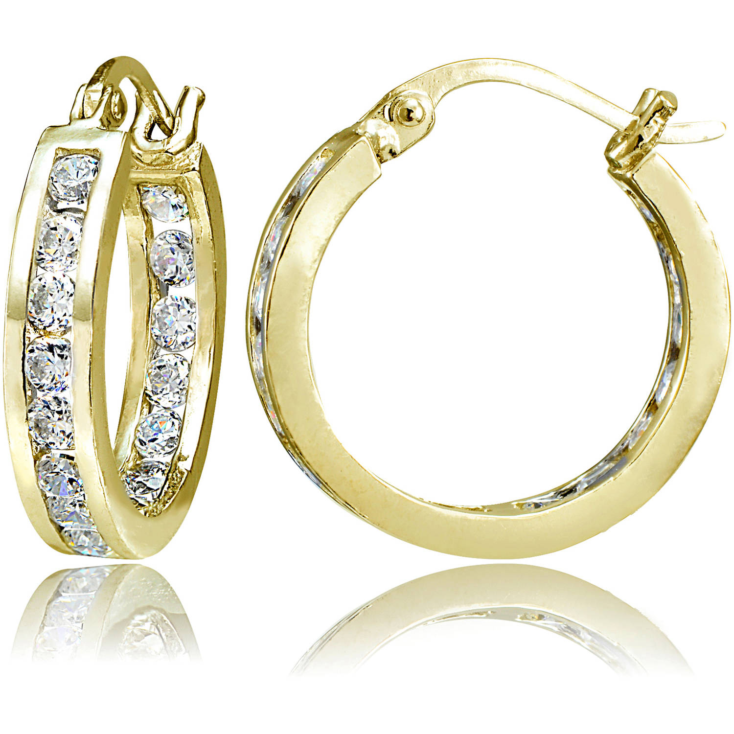 Chanel-Set CZ 14kt Yellow Gold over Sterling Silver Hoop Earrings