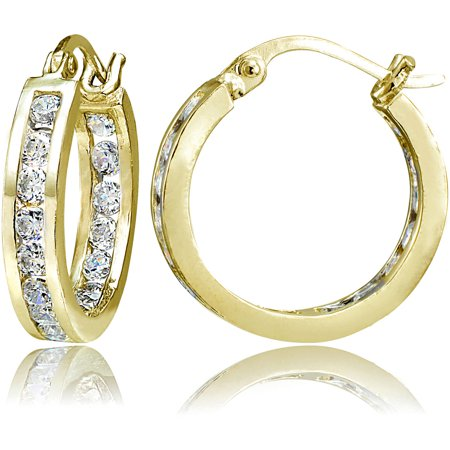 Chanel Cc Logo Earrings (Chanel-Set CZ 14kt Yellow Gold over Sterling Silver Hoop Earrings )