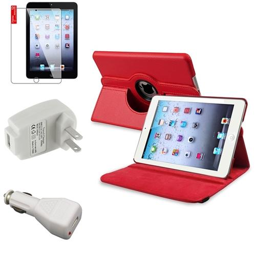iPad Mini 3/2/1 Case, by Insten 4 Accessory Red Leather Case Guard AC Car Charger for iPad Mini 1 2 3 Display