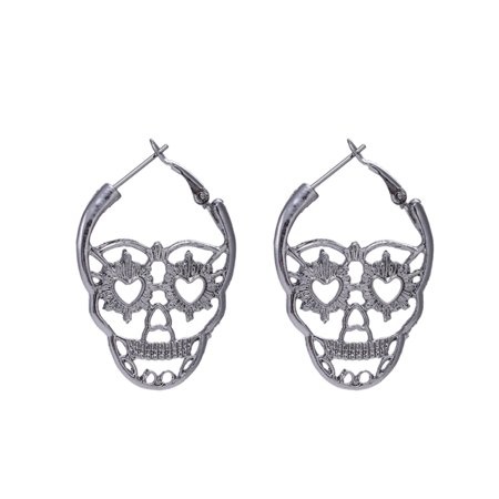 New Steampunk Silver Color Skull Stud Earrings Vintage Retro Hollow Skeleton Piercing Ear Gothic Punk Jewelry Black
