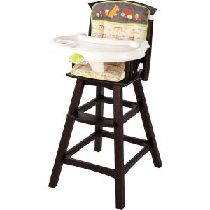 Summer Infant Classic Comfort Wood Highchair- Fox and Friends, Espresso Stain - Wood Highchair - Removable Dishwasher Safe Tray - 3 Position Recline - 5 Point Safety Harness - Child Footrest - Ea