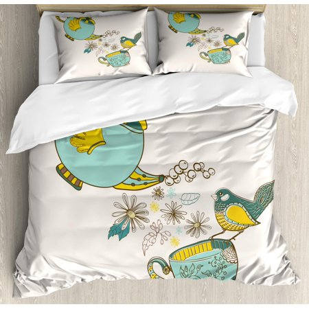 Tea Duvet Cover Set Queen Size, Bird Drinking Winged Teapot Alice in Wonderland Style Friends Flowers Spring, Decorative 3 Piece Bedding Set with 2 Pillow Shams, Teal Pale Blue Yellow, by Ambesonne](Alice In Wonderland Queen)