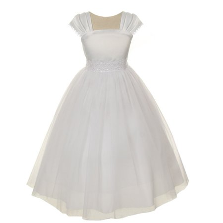 Kids Dream Girls White Satin Mesh Lace Beadwork Communion Dress (White Girl Dresses)