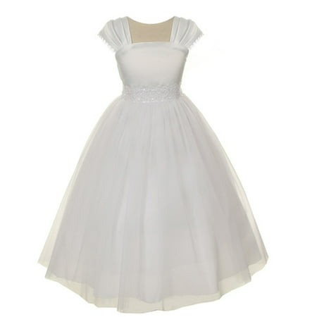 Kids Dream Girls White Satin Mesh Lace Beadwork Communion Dress - Communion Dress Sale