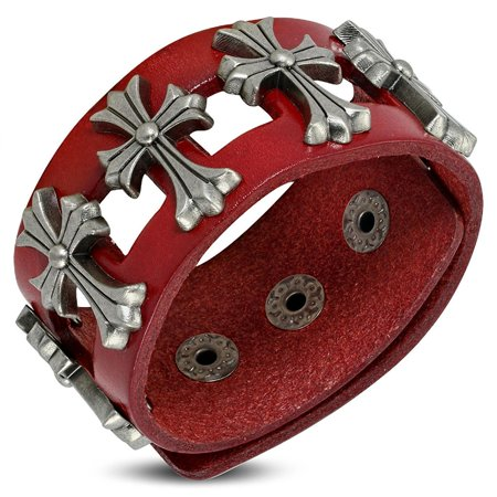Genuine Red Leather Fleur De Lis Flower Stud Snap Wristband Bracelet - Snap Wristbands