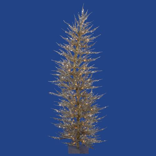 5' Pre-Lit Whimsical Champagne Artificial Tinsel Christmas Tree - Clear Lights