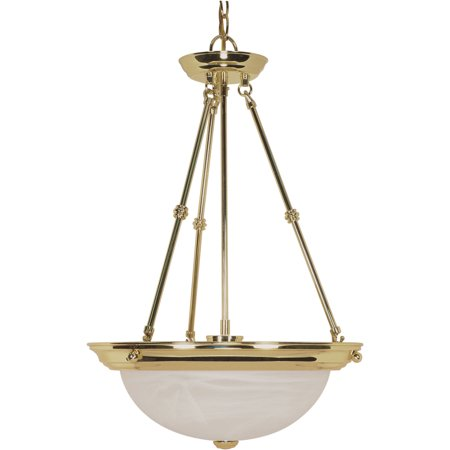 Pendants 3 Light With Polished Brass Finish Metal Medium Base 15 inch 180 Watts ()