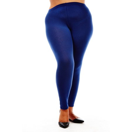 bd2eeb388ed309 Bozzolo - Womens Plus Size Comfy Basic Cotton Blend Plain Color Long  Leggings XB4003-2XL-Navy - Walmart.com